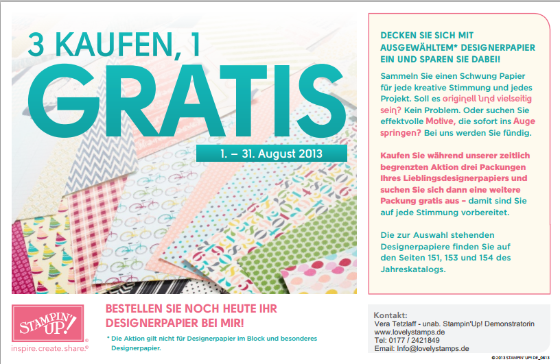 Aktion mit Gratis Designerpapier bis 31.08.2013