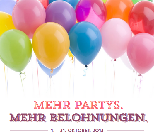 Mehr Partys mehr Belohnungen - 25 € zusätzlich für Partys ab einem Umsatz von 350 Euro