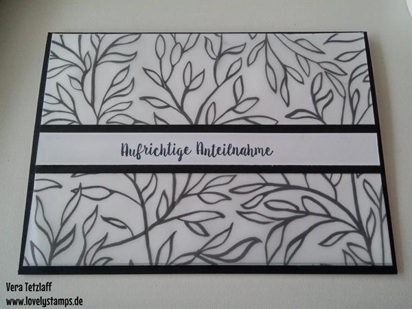 Trauerkarte, Pergamentpapier, schwarz, Blumenmuster