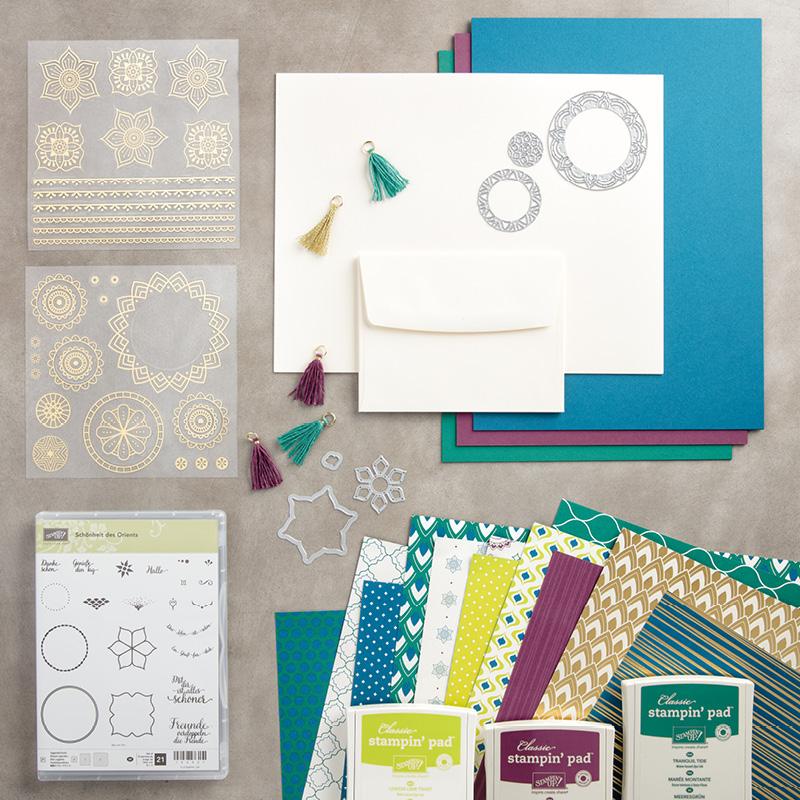 Stempel, Stempelkissen, Stanzen, Papier des neuen Produktpaketes Orientpalast