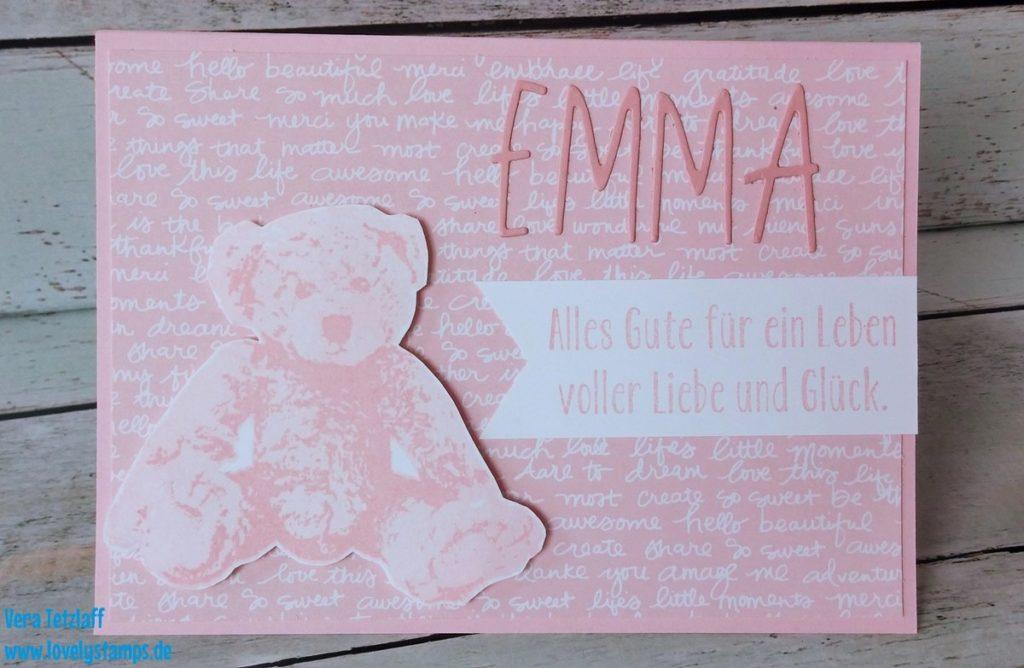 Karte zur Geburt mit Teddybär
