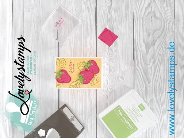 Stampin up leckereien Schachtel erbeeren Farbe Osterglocke