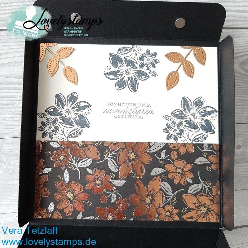 elegante Box in Schwarz mit Kupfer Designerpapier