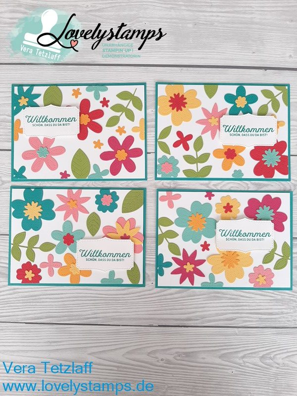 Willkommen Karte mit Blumenverziert